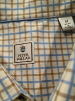 Mens Peter Millar Golf Button Front Dress Shirt Sz M Brown/Blue Check Untuck