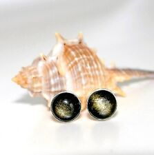 Ohrstecker 925er Sterling Silber Gold Obsidian 8 mm Cabochon Rund Poliert