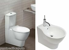 Sanitari bagno vaso monoblocco con cassetta bidet e sedile Nido filo muro