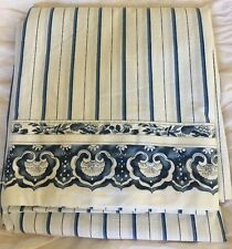 Ralph Lauren Porcelain Jonquil  Asian Floral  Blue/White Stripe Full Flat Sheet