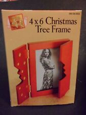 Christmas Tree Photo Frames for 4 x 6 pictures set of 4, 2Green and 2Mahogany