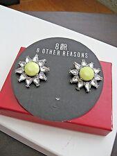 8 Other Reasons Earrings Massive Daisy Yellow Enamel Clear Crystal NWT Urban Mod