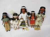 Vintage Lot of Native American Dolls Tagged Made By Oglala Sioux Parts