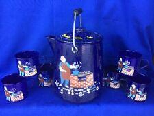 Antique Vintage Blue Speckled Tin Kettle & 6 mugs CHEF Party UNIQUE ESTATE ❤️