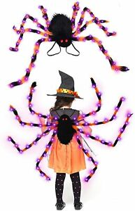 64 LED Halloween Spider Backpack Costume-Colorful Spider Costume with Purple Lig