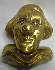 Unique Very Heavy Metal w Brass Coloring Clown Head w Ruffled Collar