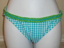NWT Genuine HULA HONEY blue/white checks & green ruffle swim bikini bottom, S