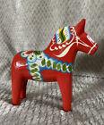 Swedish Painted Red Dala Horse Grannas A. Olssons W/ Sticker