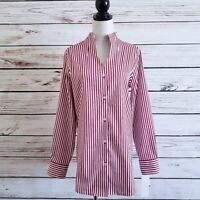 Foxcroft NYC Striped Cena Tunic Top Blouse NWT Size 8