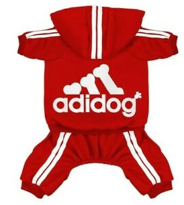 ADIDOG PET CLOTHES COAT SWEATER HOODLE JEACKET 4 LEGS OUTFIT JUMPSIUIT(RED<13LBS