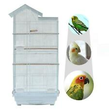 Steel Bird Parrot Cage Canary Parakeet Cockatiel W Wood Perches Food Cups White