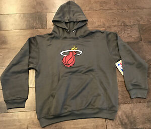Miami Heat NBA Gray Pullover Hoodie Hooded Sweatshirt Size Youth Kids Large New