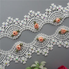 1yd Diamond Flower White Lace Edge Trim Ribbon Embroidered Applique Sewing Craft