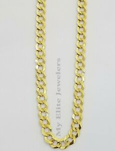 """Solid 14K Yellow Gold Necklace Bracelet 3mm-10mm Curb Chain Cuban Link  7""""- 30"""""""