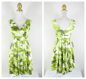 Ann Taylor Green White Tropical Fit Flare A Line Dress Size 0 NWT $139