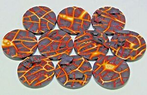 40mm Lava resin scenic bases, Qty 5-25 unpainted, by Daemonscape