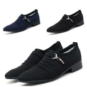 Chic Mens Canvas Pumps Business Pointy Toe Slip on Flats Breathable Casual Shoes