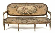 Antique French Louis Xvi Style Giltwood and Tapestry Settee