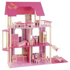 howa Puppenhaus für Ankleidepuppen z.B. Barbie incl. 22 tlg. Möbelset aus Holz