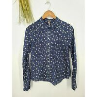 Free People Shirt Long Sleeve Navy Floral Button Up Top Size Medium