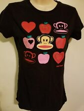 PAUL FRANK WOMENS SMALL BLACK TOP BABY DOLL CAP SLEEVES MONKEY APPLES HEARTS SM