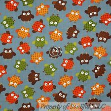 BonEful Fabric FQ Cotton Quilt Gray Orange Green Brown OWL Bird Calico Dot Fall