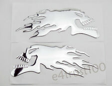1 Pair 3D Flame Skull Emblem Decal Sticker Motorcycle Tank Fairing Badge Silver
