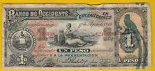 1914 Banco De Occidente Republica De Guatemala 1 Peso, August 1 1914, Bank Note