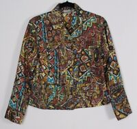 Chico's Women's Tribal Print Jacket Button Front lightweight Blazer Size 0