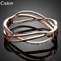 Fashion Austrian Crystal Statement Bangle 18K Rose Gold Cuff Bracelet Jewelry