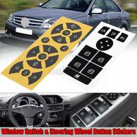 For Mercedes W204 2007-2014 Window Switch & Steering Wheel Button Stickers
