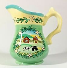 Farm Scene Ceramic Pitcher Youngs 1999 Cows Rooster Barn