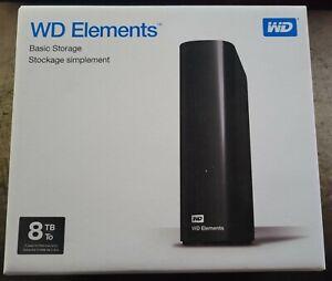 New Sealed WD Elements 8TB USB 3.0 Desktop Hard Drive WDBWLG0080HBK-NESN Black