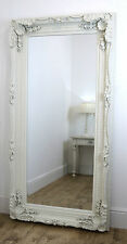 "Chelsea White Ornate Carved French Style Floor Mirror 72"" x 36"" (183cm x 91cm)"