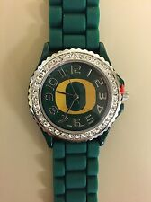 New Women's Watch University Of Oregon Ducks Rhinestone Jelly Silicone Bling