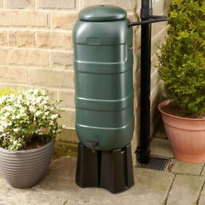Slimline Water Butt 100L Kit with Stand (Green) - Pre-drilled holes