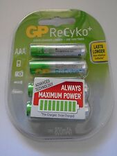 4 x AAA GP Rechargeable Batteries Battery 800 mAh 1.2V Recyko NI-MH Always Ready