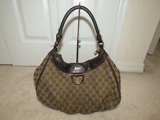 GUCCI GG MONOGRAM ABBEY D RING SHOULDER BAG HOBO 189833 BROWN WELL USED READ*