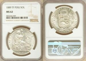 Uncirculated 1889 Crown Size Republic of Peru Silver Coin One/Un Sol NGC MS62