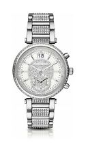 Michael Kors MK6281 Sawyer Silver Pave Stainless Steel Chronograph 39MM NEW