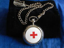RED CROSS FLAG POCKET WATCH WITH CHAIN (NEW)
