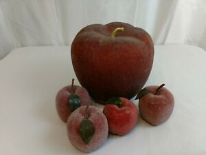 Vintage 5 Beaded Sugar Table Fruit Artificial Faux Fruit Red 4 small 1 large