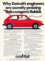 1975 VW Volkswagen Rabbit Original Advertisement Print Art Car Ad PE69