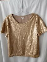 WOMEN'S J. CREW blouse top GOLD SEQUINS Front and back Short sleeve Sz M medium