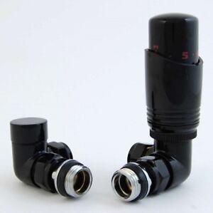 Black Radiator Thermostatic valve sets Corner / Straight / Angled Great quality
