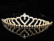 Damigelle d'onore prom Flower Girl WEDDING REGINA Cristallo Oro Placcato Diadema t034g UK