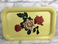 Vintage Decorative Dresser Farmhouse Metal Tin Tray Yellow With Roses -14x9""