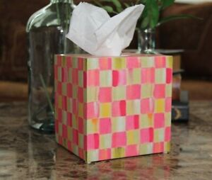 ❤️Tissue Box Cover made with Mackenzie Childs Tulip Check Paper❤️
