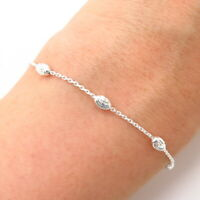 """925 Sterling Silver Italy Bead By The Yard Link Anklet 9 3/4"""""""