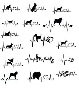 Dog heartbeat decal bumper sticker love labrador pug staffie rottie vinyl car